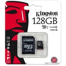 Карта памяти Kingston microSDXC UHS-I (Class 10) 128GB + адаптер [SDC10G2/128GB]